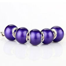 5pcs Jelly Simple SILVER MURANO bead LAMPWORK fit European Charm Bracelet D394