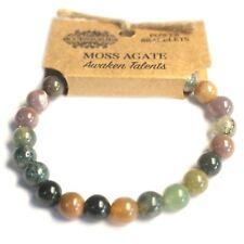 Moss Agate Natural 8mm GEMSTONE Elasticated Bracelet Chakra Healing Stones
