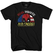 Deadpool American Flag Tacos Funny Avengers X-Men Graphic Adult Mens T-shirt Tee