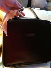 LANCOME~ BLACK Faux Leather Train Case With Pink Scarf~ LARGE ~BRAND NEW!