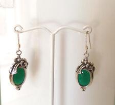 Sterling Silver Vintage  Green Earring