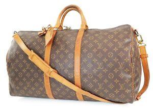 Auth LOUIS VUITTON Keepall Bandouliere 55 Monogram Canvas Duffel Bag #39090