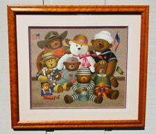 "CHARLES WYSOCKI ""THE GANGS ALL HERE"" STEIFF FRAMED PRINT SIGNED TEDDY BEARS"