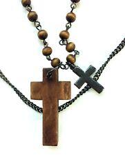 Costume Jewellery Necklace Pendant, 2 Strand Bead & Chain,Cross Pendant Preowned