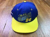 Vintage Jeff Gordon DuPont Racing Snapback Hat Rare 90s Nascar Blue Yellow