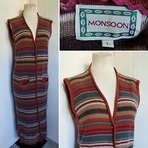 Vintage MONSOON Extra Long Lambswool Blend Cardigan L Boho Hippie 70s