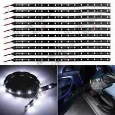 "10pcs 12"" 15SMD White LED Strip Lights For Car Cup Holder Glove Box Foot Area"