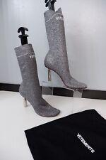 Vetements Metallic Silver Boots Size 39 Uk 6 Heels VGC Socks