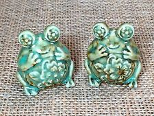 Glazed Ceramic Green Round Bug Eye Flower Frogs Salt & Pepper Shaker Set