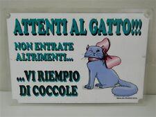 Cartello targhetta avviso umoristico humor gatti gatto casa 20x30 cm M311