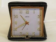 Vintage Angelus Travel Alarm Clock With Case Tested Working