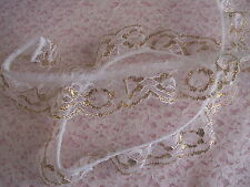 White and Gold Ruffled Lace Trim, 3 YARDS, Bridal Accessories, Christmas Crafts