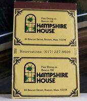 Rare Vintage Matchbook Cover B1 Boston Massachusetts Hampshire House Dining