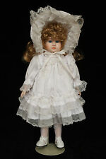 MUSICAL MUSIC BOX PORCELAIN DOLL WHITE OUTFIT & BONNET ALL ORIGINAL MINT IN BOX
