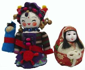 """Chinese Minority Ethnic Souvenir Collector Cartoon Dolls 5"""" and 2¾"""""""