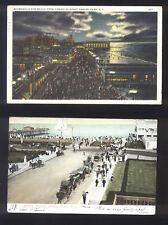 2 Antique NJ Asbury Park Boardwalk Casino Postcards with Ben Franklin Stamps!