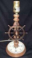 Vintage Nautical Table Lamp w/ Ships Wheel, Compass Base, American Lamp & Shade