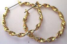 boucles d'oreilles percées bijou rétro grand anneau torsadé 3.5cm couleur or 403