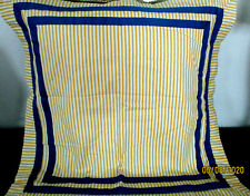 WAVERLY 2 EURO PILLOW SHAM 30X30''FRAMED BLUE TRIM WHITE YELLOW STRIPED