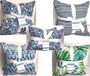 THROW PILLOWS FILLED SETS OF 2 INDOOR/OUTDOOR DECOR CUSHION PILLOWS 5 DESIGNS