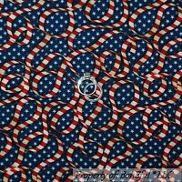 BonEful Fabric FQ Cotton Quilt VTG Blue Red White American Flag USA Stripe Star