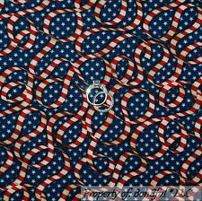 BonEful Fabric Cotton Quilt Blue Red White America USA Stripe Star US SALE SCRAP