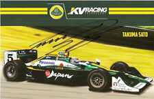 2011 TAKUMA SATO signed INDIANAPOLIS 500 PHOTO CARD POSTCARD IZOD INDY CAR LOTUS