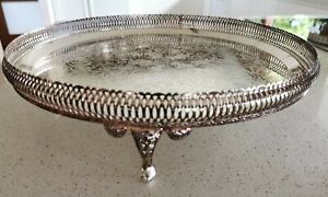 VINTAGE 60S QUALITY ENGLISH QUEEN ANNE EPNS TRI FOOT LARGE GALLERY SERVING TRAY