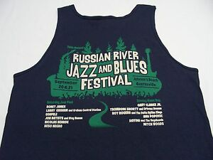 RUSSIAN RIVER JAZZ AND BLUES FESTIVAL - NAVY BLUE - XL SIZE TANK TOP SHIRT!