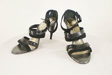 Kenneth Cole Sz 9 M Black Snake and Suede Strappy Sandal Heels - Italy