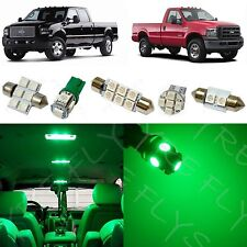 14x Green LED lights interior package 1999-2010 Ford F250 F350 Super Duty FS1G