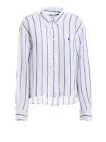 POLO RALPH LAUREN NWT New Blue White Striped Cotton Blouse Top Dress Shirt L