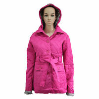 NEW LADIES QUILTED HOODED WOMENS PADDED BELTED BUTTON JACKET COAT SIZE 8-14