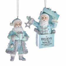 "Santa Blue Gift Box Bag Present Christmas 3.5"" Ornament Set 2 Kurt Adler"