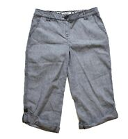 White House Black Market Crop Capri Pants 6 Blue Chambray Denim Cotton Roll Up