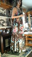 OLGA VTG 60's HIPPIE BOHO BOLD FLORAL NEGLIGEE NIGHTGOWN S 32 34 BROWN PINK