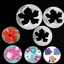 3pcs Hawaiian Flower Fondant Cutter Cake Mold Fondant Cupcake Decorating Tools