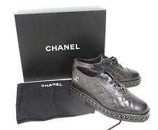 Chanel Damas Acolchado Detalle de Cadena de Cuero Negro Zapatos Con Cordones Cuero Calado EU37 UK4