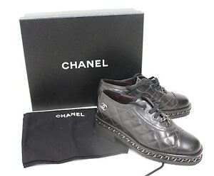 CHANEL Ladies Quilted Black Leather Chain Detail Lace Up Brogues Shoes EU37 UK4