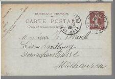 ENTIER  POSTAL  CARTE POSTALE TYPE SEMEUSE 1925 HAUT RHIN