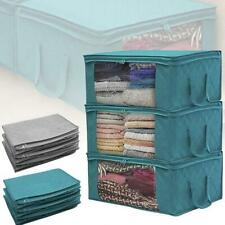 More details for 3x underbed clothes storage bags ziped organizer wardrobe cube closet boxes h uk