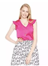Kate Spade New York Pink Satin Crepe Flutter Sleeve Blouse Top XS