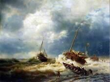 Paisaje Marino marítimo Achenbach barcos tormenta holandés Costa Poster Print BB12215B