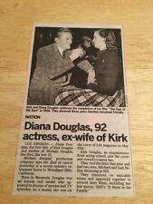 Obituary - DIANA DOUGLAS (Kirks Ex)  -  7/5/15  -  NEWSDAY  Newspaper Clipping