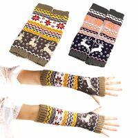 Women Fingerless Knitted Gloves Winter Warm Long Arm Warmer Mittens Gloves