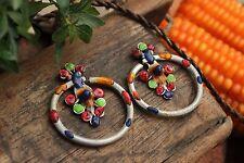 Handmade Tribal Earrings Hmong Dzao 3mm Gauge Hill Tribe Jewellery Colourful