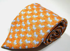 Hermes Paris 7110 OA Zebra Pattern Orange Color Silk Necktie Tie Made In France