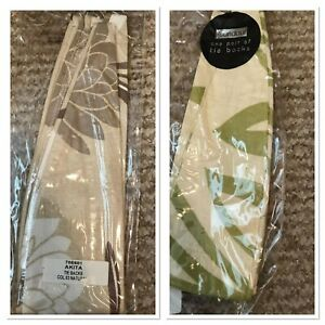 NEW TIEBACKS 100% COTTON NATURAL FLORAL CREAM LIME PATTERN