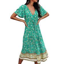 Womens Boho Floral Holiday Summer Dress Ladies V Neck Short Sleeve Midi Sundress