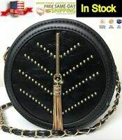 Black Genuine Leather Purse Round Elegant Handbag Shoulder Strap Gold Accents